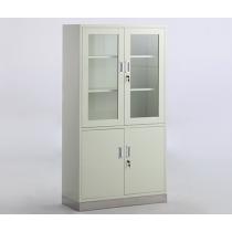 Armoire à 2 portes vitrées et 2 placards métalliques