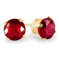 BoucleSolitaire cristal Ruby 3 mm doré