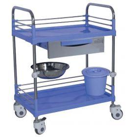Chariot à instrument en inox à 2 plateaux ABS-tiroir-poubelle-cupule